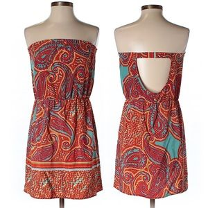 Glam Strapless Paisley Cut Out Mini Summer Dress S